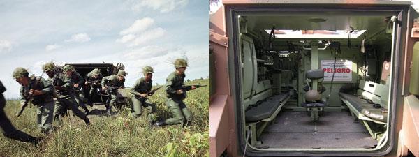 기관총 사격 훈련을 하고 있는 M113