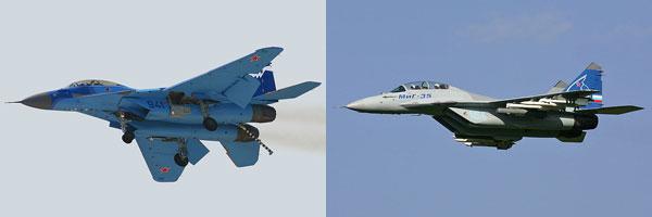(좌)동독 공군의 MiG-29를 통일 후 독일 공군이 운용하게 되면서 그 성능이 서방측에 완전히 밝혀졌다. 이후 계속하여 운용하기에 적합하지 않다고 판단되어 이들은 폴란드에 판매되었다.<br /> (우)R-60 공대공 미사일을 장착하고 이륙 중인 세르비아 공군의 MiG-29. 지난 유고 내전 당시에 F-15C와 교전을 벌였지만 일방적으로 격추 당하였다. <출처 (cc) Krasimir Grozev>